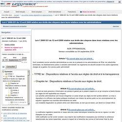 Loi n° 2000-321 du 12 avril 2000 relative aux droits des citoyens dans leurs relations avec les administrations