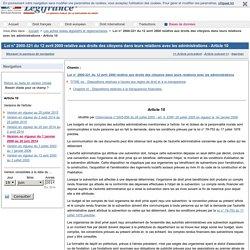 Loi n° 2000-321 du 12 avril 2000 relative aux droits des citoyens dans leurs relations avec les administrations - Article 10