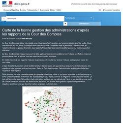 Carte de la bonne gestion des administrations d'après les rapports de la Cour des Comptes - Data.gouv.fr