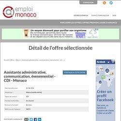 Emploi Monaco: Annonce : Assistante administrative, communication, évenementiel - CDI - Monaco par Adecco (aurelia martin)