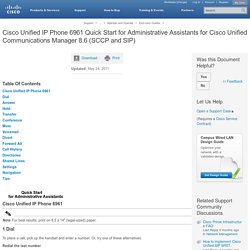 Cisco Unified IP Phone 6961 Quick Start for Administrative Assistants for Cisco Unified Communications Manager 8.6 (SCCP and SIP)
