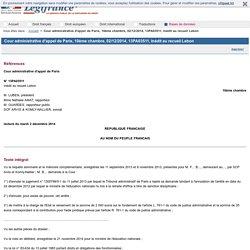 Cour administrative d'appel de Paris, 10ème chambre, 02/12/2014, 13PA03511, Inédit au recueil Lebon