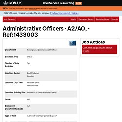 Administrative Officers - A2/AO, - Ref:1433003