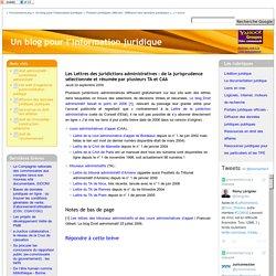 Les Lettres des juridictions administratives : de la jurisprudence sélectionnée et résumée par plusieurs TA et CAA