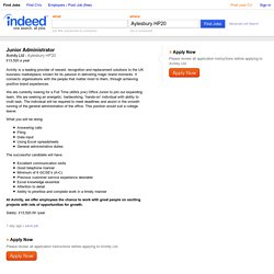 Junior Administrator job - Avinity Ltd - Aylesbury HP20