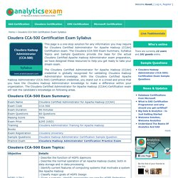 Cloudera Hadoop Administrator Certification Exam Syllabus