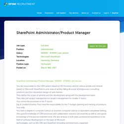 SharePoint Administrator/Product Manager