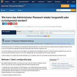 Wie kann das Administrator Passwort wieder hergestellt oder zurückgesetzt werden?