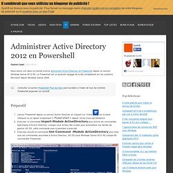 Administrer Active Directory 2012 en Powershell
