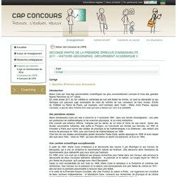 Seconde partie de la première épreuve d'admissibilité 2011–Histoire-Géographie, groupement académique3