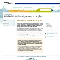Admissibilité à l'enseignement en anglais