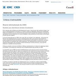 Critères d'admissibilité - Bourse internationale du CRDI