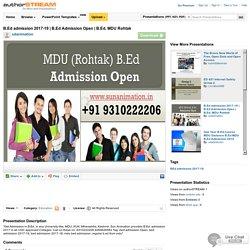 B.Ed Admission 2017-19