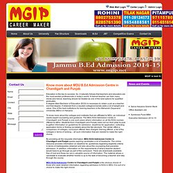 MDU B.Ed Admission Centre in Chandigarh and Punjab