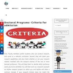 Criteria for Admission in US Doctoral Program - Collmissionstats
