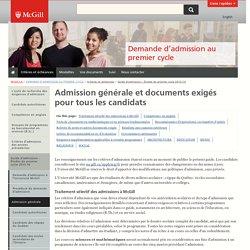 Admission générale et documents exigés pour tous les candidats