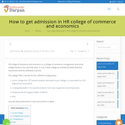 How to get admission in HR college of commerce and economics - Vidhyarthi Darpan