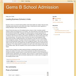 Gems B School Admission: Leading Business Schools in India