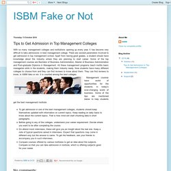 ISBM Fake or Not: Tips to Get Admission in Top Management Colleges