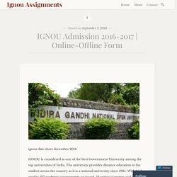 Online-Offline Form – Ignou Assignments