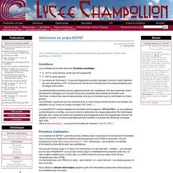 Admission en prépa BCPST - Lycée Champollion