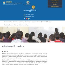 Know about the Admission Procedure of DGITM