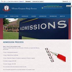 Admission Process in Ukraine Universities