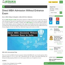 Direct MBA Admission Without Entrance Exam in India