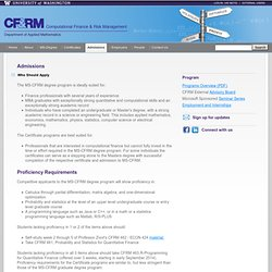 Computational Finance and Financial Risk Management Admissions