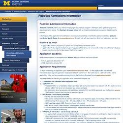 Robotics Admissions Information