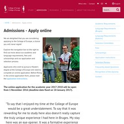 Admissions - Apply online