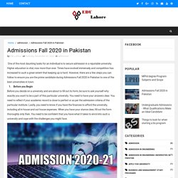 Admissions Fall 2020 in Pakistan - The Best Education Programs
