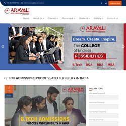 B.Tech Admissions Process and Eligibility in India - Aravali College