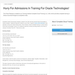 Hurry For Admissions In Training For Oracle Technologies!