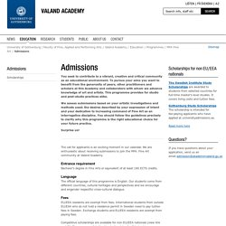 Admissions - Valand Academy, University of Gothenburg, Sweden