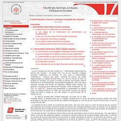 2007 : E-admistration, fracture numérique et égalité des citoyens: FACULTE DE DROIT