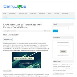 KMAT Admit Card 2017 Download KMAT Entrance Exam Call Letter