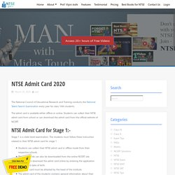 Download NTSE Hall Ticket