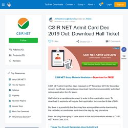 CSIR UGC NET 2016 Admit Card
