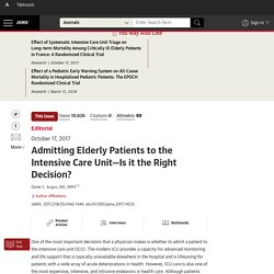 Admitting Elderly Patients to the Intensive Care Unit—Is it the Right Decision?