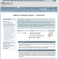 ADO et Visual Basic : Tutoriel