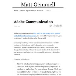 Adobe Communication - Matt Legend Gemmell