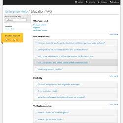 Creative Cloud for enterprise / Education FAQ