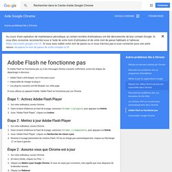 Adobe Flash ne fonctionne pas - Aide Google Chrome