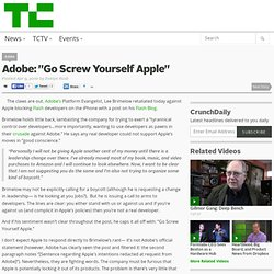 "Adobe: ""Go Screw Yourself Apple"""