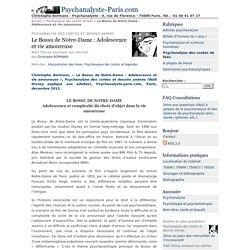 Le Bossu de Notre-Dame : Adolescence et vie amoureuse - Psychanalyste-Paris.com