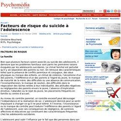Facteurs de risque du suicide à l'adolescence