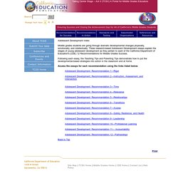 Adolescent Development Index - Taking Center Stage - Act II (CA Dept of Education)