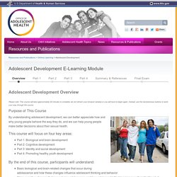 Adolescent Development E-Learning Module - The Office of Adolescent Health