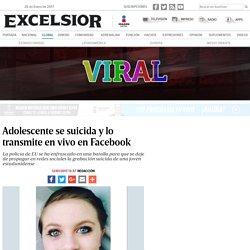 Adolescente se suicida y lo transmite en vivo en Facebook